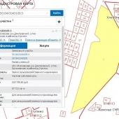Кадастровая карта с участком рядом с д. Ступино