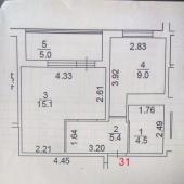 Схема 1-к. квартиры в Московском на продажу за 4,5 млн. Выгодное предложение.