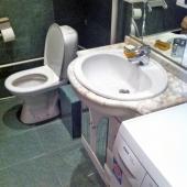 В санузле можете видеть стиральную машину