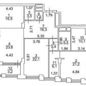 Схема трехкомнатной квартиры, Ефремова 12