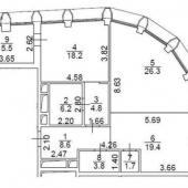 Схема трехкомнатной квартиры у метро Фрунзенская, Ефремова 12
