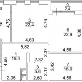 """Схема самой квартиры - удачная планировка, к 1.1, ЖК """"САДОВЫЕ КВАРТАЛЫ"""""""