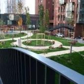 Вид во двор в центре, там хороший ландшафтный дизайн