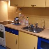 Кухня в хорошем состоянии. Это недалеко от Щукинской. Ул. Авиационная 65к3.