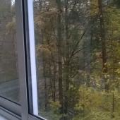 Вид из окна через балкон остекленный