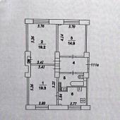 Схема квартиры 3-х комнатной на Кутузовском проспекте, в доме №33