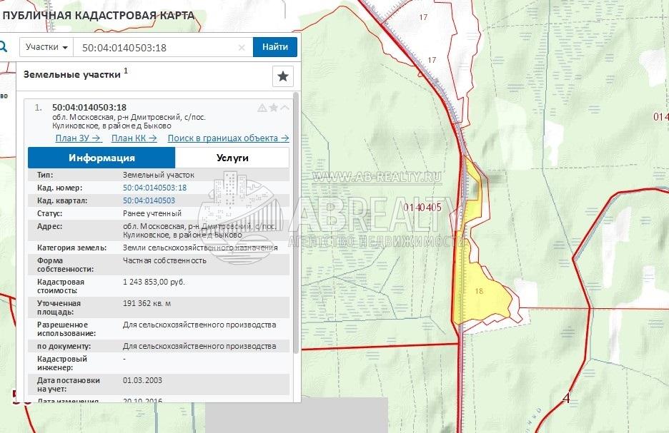 Кадастровый план участка у д. Быково
